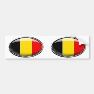 Ovale en verre de drapeau de la Belgique Autocollant De Voiture