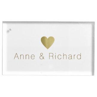 paar namen met een faux gouden hart, huwelijk tafelkaart houder