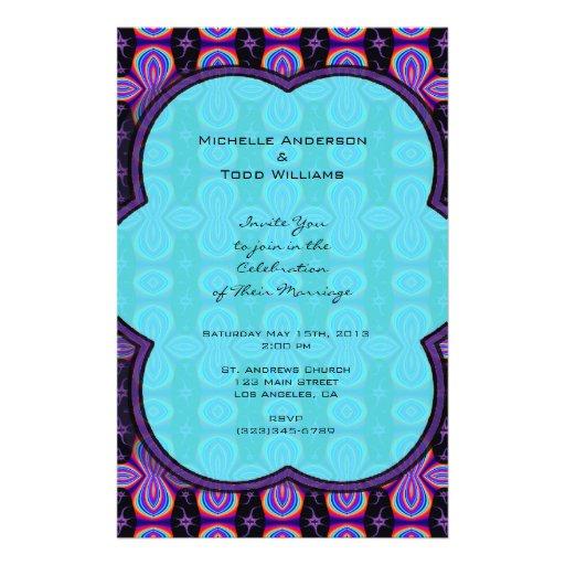 Paars Turkoois Huwelijk Gepersonaliseerde Folder