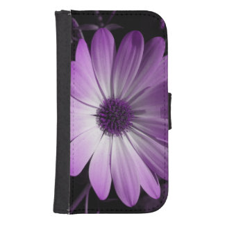 Paarse Daisy Flower Samsung Wallet Case Galaxy S4 Portefeuille Hoesje