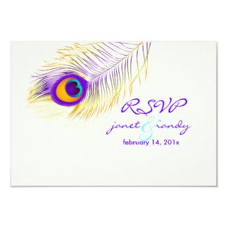 Paarse de pauwfeather/DIY kleur van PixDezines 8,9x12,7 Uitnodiging Kaart