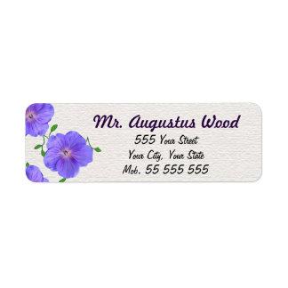 Paarse Naam van de Bloem van de tuin de Blauwe op Etiket