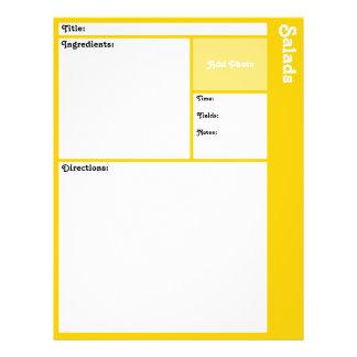 Page de recette (jaune) prospectus 21,6 cm x 24,94 cm
