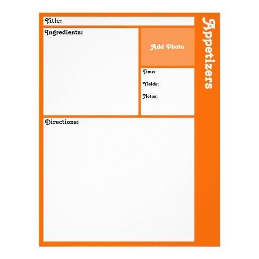 Page de recette (orange) tract personnalisé