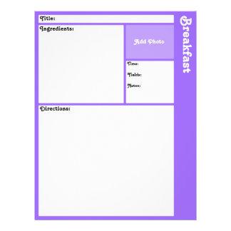 Page de recette (violet-clair) prospectus 21,6 cm x 24,94 cm