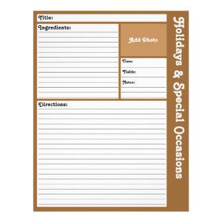 Page rayée de recette (Brown) Prospectus 21,6 Cm X 24,94 Cm