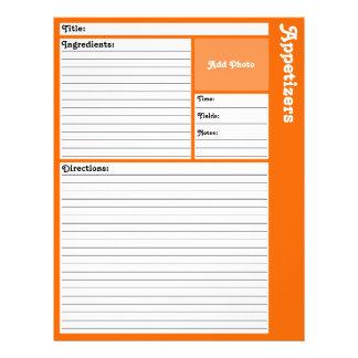 Page rayée de recette (orange) prospectus 21,6 cm x 24,94 cm