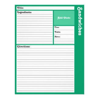 Page rayée de recette (Teal) Prospectus 21,6 Cm X 24,94 Cm