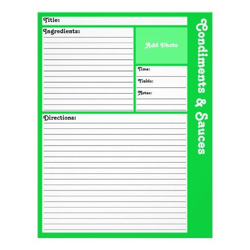 Page rayée de recette (vert clair) prospectus