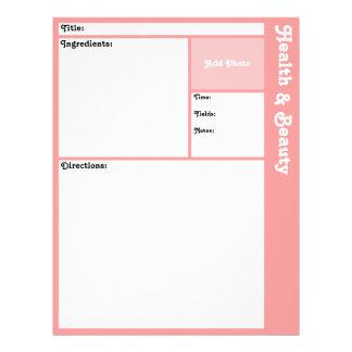 Pages de recette (rose) prospectus 21,6 cm x 24,94 cm
