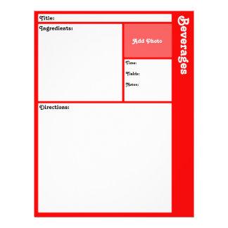 Pages de recette (rouges) prospectus 21,6 cm x 24,94 cm