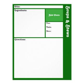 Pages de recette (vert-foncé) prospectus 21,6 cm x 24,94 cm