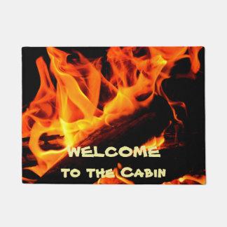 Paillasson Accueil à la natte de feu de bois de cabine
