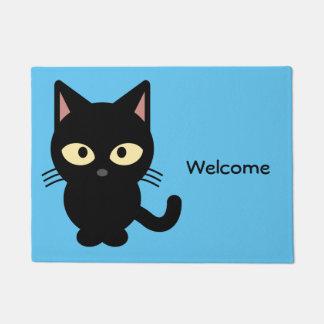 Paillasson Accueil mignon de bande dessinée de chat noir