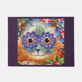 Paillasson Art hippie pourpre vintage de chat de fleur de