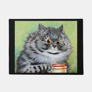 Paillasson Art vintage de chat de thé de Wain