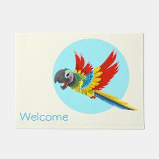 Paillasson Bande dessinée colorée heureuse de perroquet