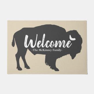 Paillasson Bison gris rustique de Buffalo et accueil de nom
