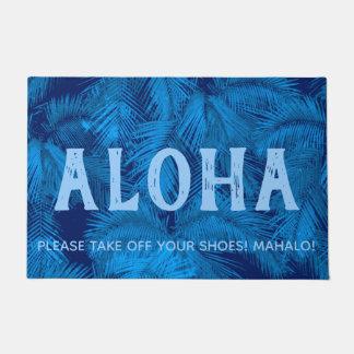 Paillasson Bleu tropical hawaïen de feuille de paumes de