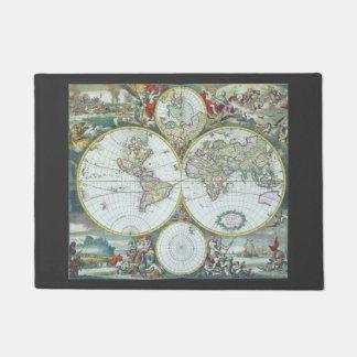 Paillasson Carte antique du 17ème siècle du monde, Frederick