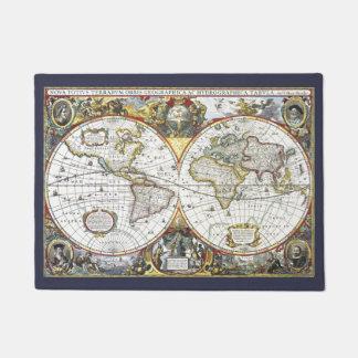 Paillasson Carte antique du monde par Hendrik Hondius, 1630