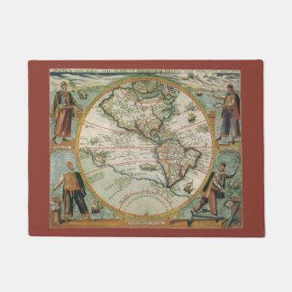 Paillasson Carte de Vieux Monde antique des Amériques, 1597