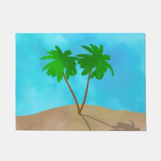 Paillasson Collage de scène de plage de palmier d'aquarelle