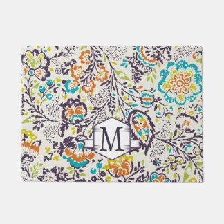 Paillasson Cru de monogramme personnalisé par accueil floral