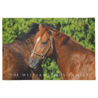 Paillasson Deux beaux chevaux de châtaigne au soleil