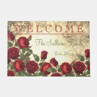 Paillasson Famille BIENVENUE de monogramme de roses rouges de