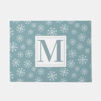 Paillasson Flocons de neige décorés d'un monogramme d'hiver