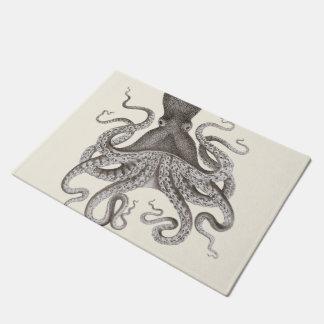 Paillasson Illustration vintage grise de poulpe