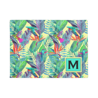 Paillasson Les colibris d'aquarelle | ajoutent votre initiale