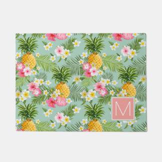 Paillasson Les fleurs et les ananas tropicaux | ajoutent