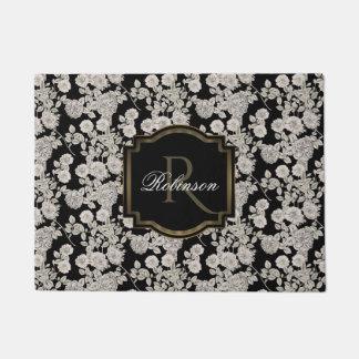 Paillasson Monogramme floral blanc vintage du noir |