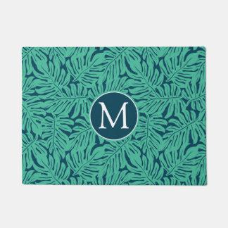 Paillasson Monogramme tropical du motif | de feuille de