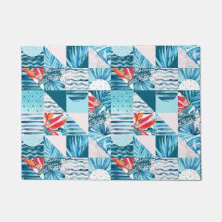 Paillasson Motif abstrait géométrique turquoise tropical