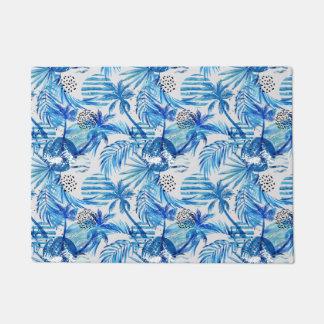 Paillasson Motif tropical bleu lumineux d'aquarelle