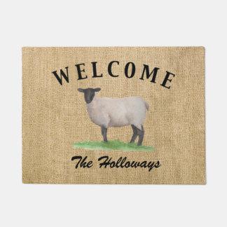Paillasson Moutons du Suffolk d'aquarelle
