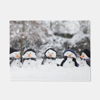Paillasson Natte - bonhommes de neige mignons habillés pour