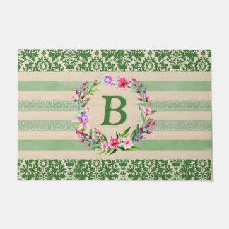 Paillasson Natte florale hardiment romantique de monogramme