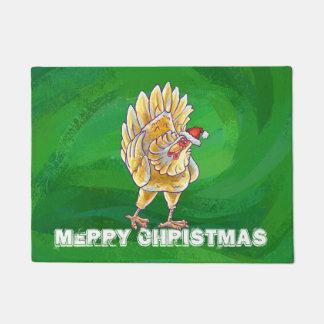 Paillasson Noël de poulet sur le vert