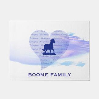 Paillasson Nom de famille bleu de coutume de silhouette de