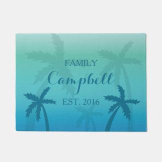 Paillasson Palmiers tropicaux de turquoise avec le nom de