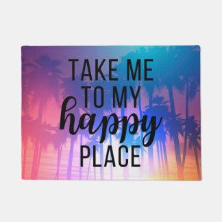 Paillasson Portez-moi à ma plage et palmiers heureux de Boho