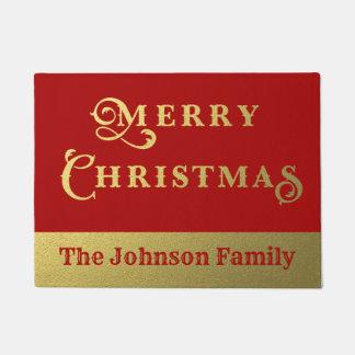 Paillasson Rouge de Joyeux Noël et accueil personnalisés d'or