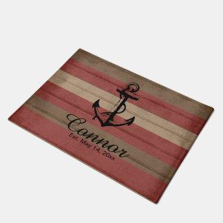 Paillasson Rouge et rayures nautiques en bois de Brown