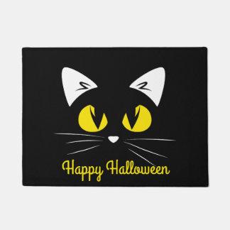 Paillasson Visage mignon heureux de chat noir de Halloween