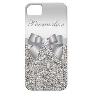 Paillettes, arc et diamant argentés imprimés coque iPhone 5