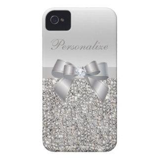 Paillettes, arc et diamant imprimés par argent coque iPhone 4